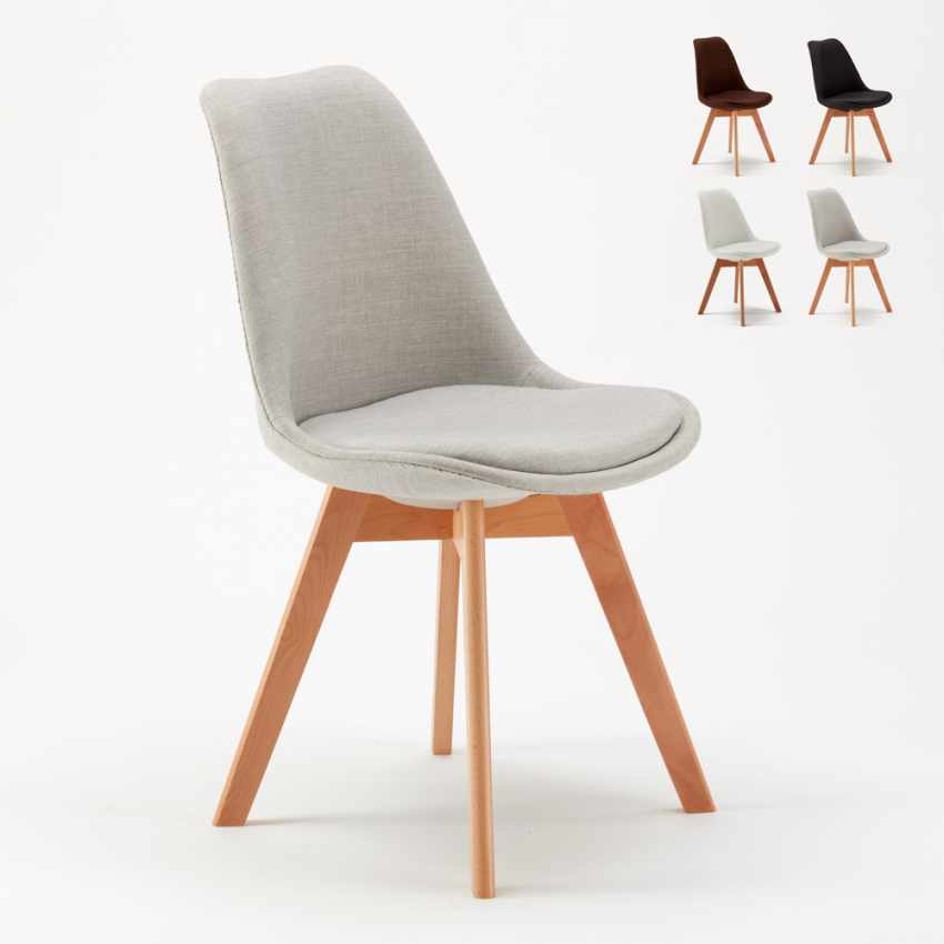 Sedia con cuscino tessuto design scandinavo nordica plus for Sedie design outlet