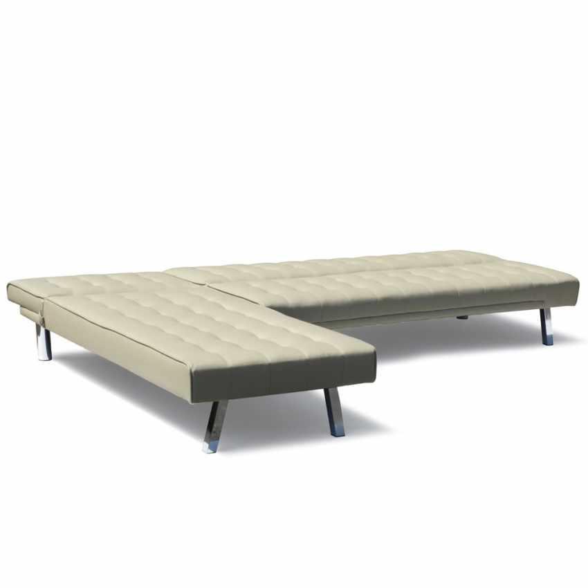 DI1990PUP - Divano letto ad angolo con penisola 3 posti in similpelle  ZIRCONE pronto letto - rosso