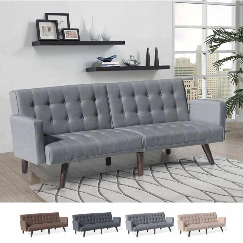 divano letto reclinabile 3 posti in tessuto rialzato