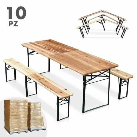 SB220PGVSTO - Set birreria pieghevole tavolo panche legno feste giardino sagre 220x80 stock 10 pezzi - grigio