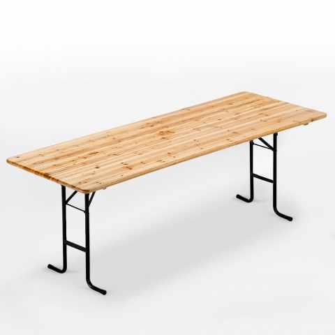 TA220LEG - Tavolo in legno per set birreria 220x80 feste giardino - nero