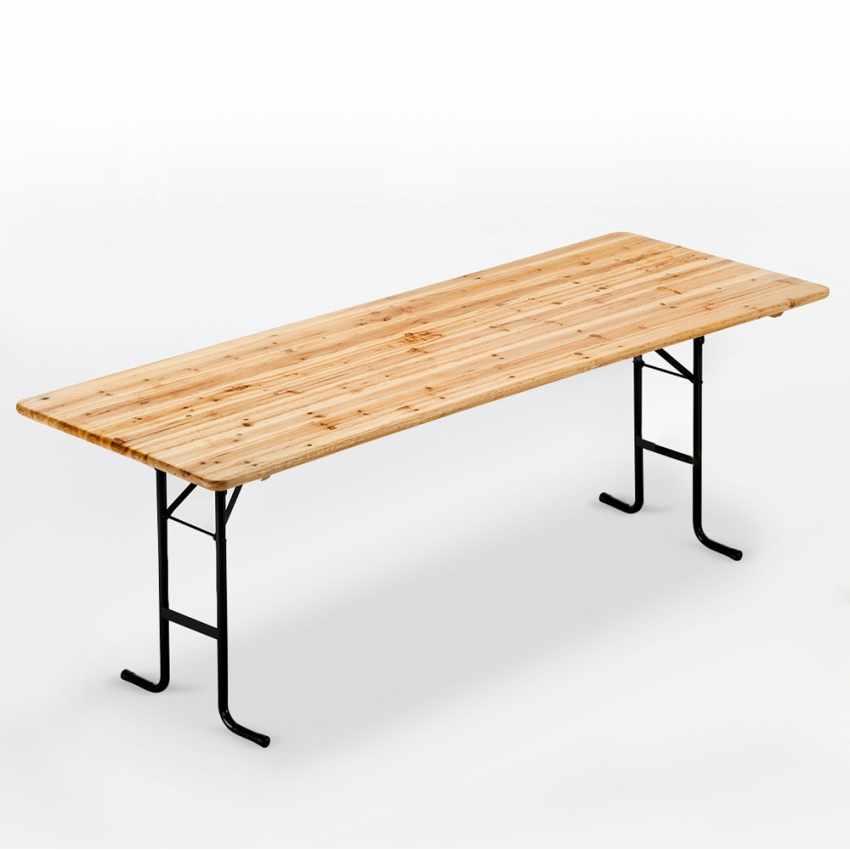 Tavolo in legno con gambe in ferro 220x80 per giardino feste sagre - Tavoli da birreria 220x80 ...