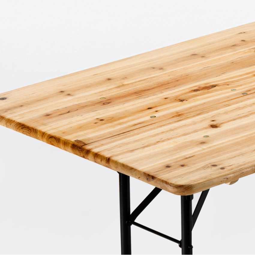 Tavolo in Legno con Gambe in Ferro 220x80 per Giardino Feste Sagre - vendita