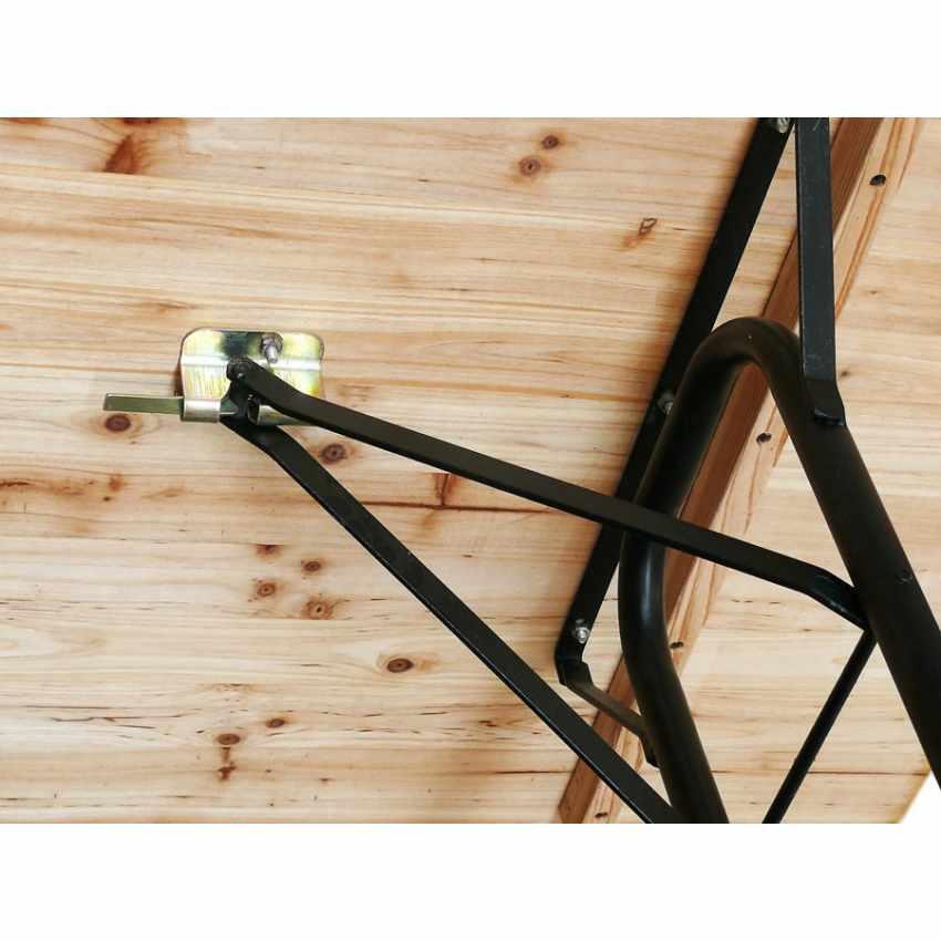 Tavolo in Legno con Gambe in Ferro 220x80 per Giardino Feste Sagre - foto