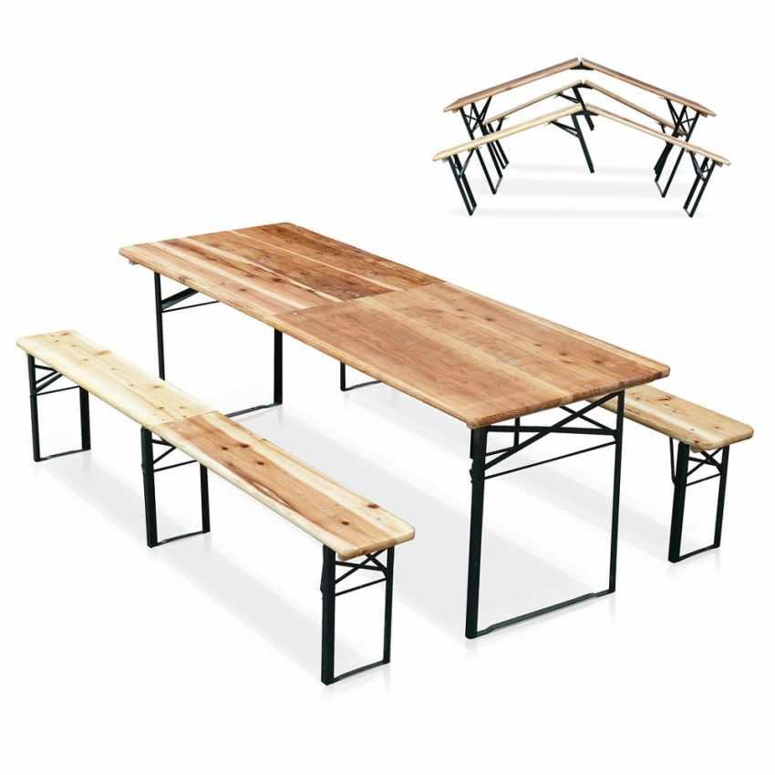 Set panche e tavolo in legno pieghevoli per feste giardino for Panche in legno da giardino