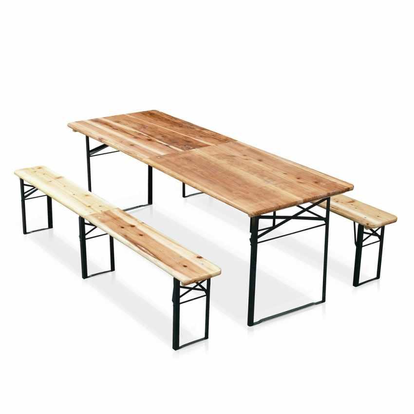 Set panche e tavolo in legno pieghevoli per feste giardino esterni sagre 220x80 - Tavoli da birreria 220x80 ...