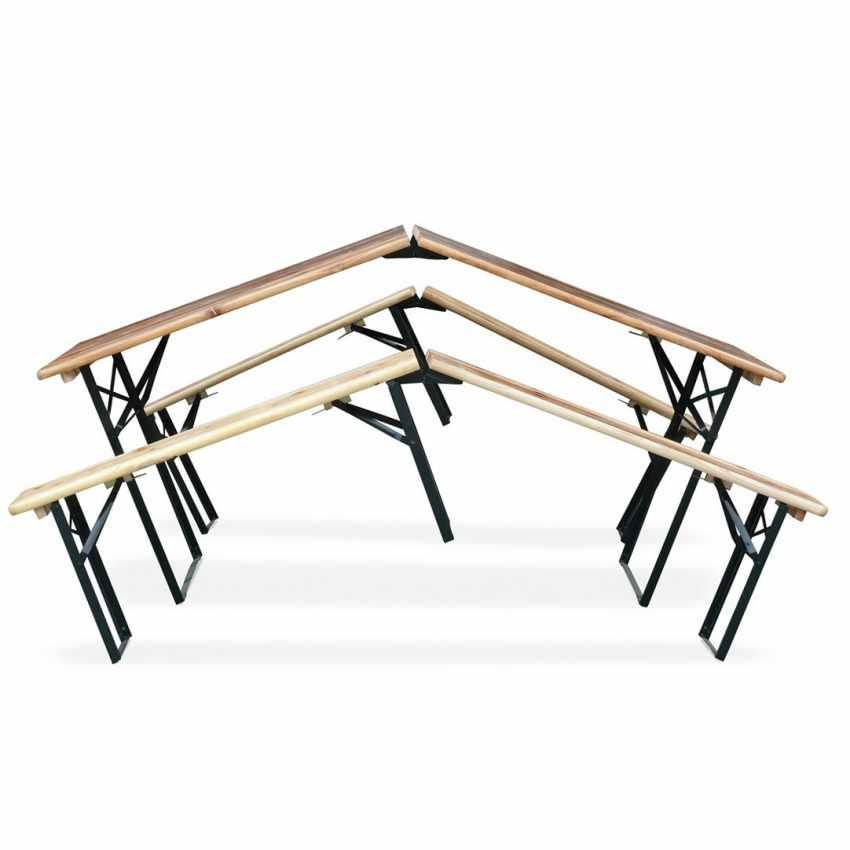 Set Panche e Tavolo in Legno Pieghevoli per Feste Giardino Esterni Sagre 220x80 - nuovo