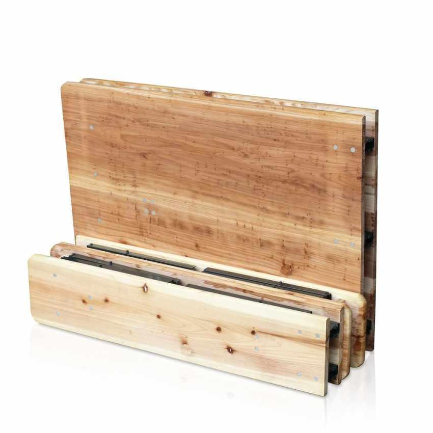Set panche e tavolo in legno pieghevoli per feste giardino - Tavolo in legno pieghevole ...