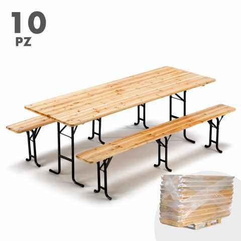 SB223STO - Set birreria tavolo panche legno feste sagre 220x80 3 gambe stock 10 pezzi - trasparente