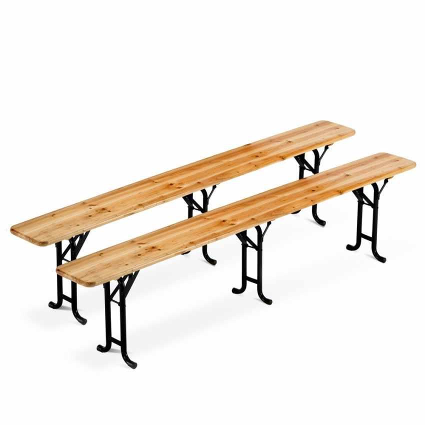 10x set panche e tavoli in legno 3 gambe per feste esterni giardini 220x80 - Tavoli da birreria 220x80 ...