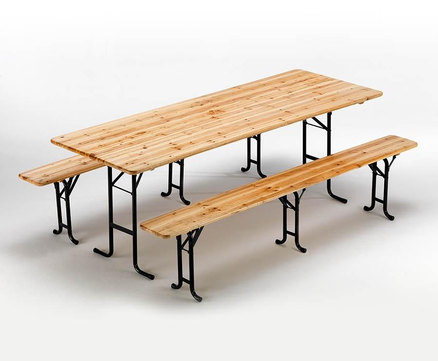 Tavoli E Panche Da Birreria.Set Panche E Tavolo In Legno 3 Gambe 220x80 Per Giardini Feste Sagre