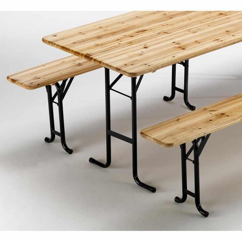 SB223LEG - Set birreria tavolo panche legno feste giardino sagre 220x80 3 gambe - basso costo