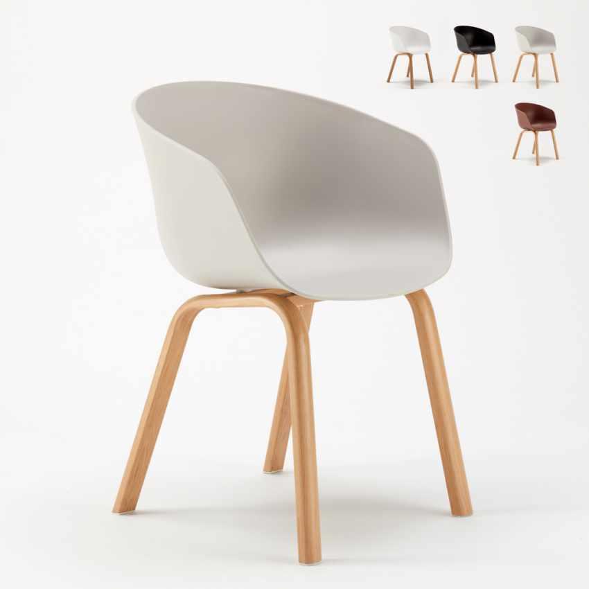 Stock 20 sedie design scandinavo metallo effetto legno for Sedie design outlet online