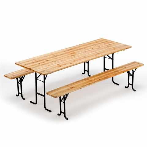 SB220LEG - Set birreria tavolo panche legno feste giardino sagre 220x80 - azzurro
