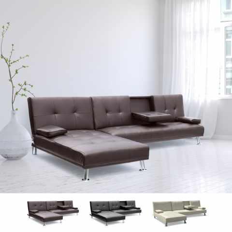 DI1710PU - Divano letto ad angolo con bracciolo e penisola 3 posti COBALTO per salotto e soggiorno pronto letto - basso