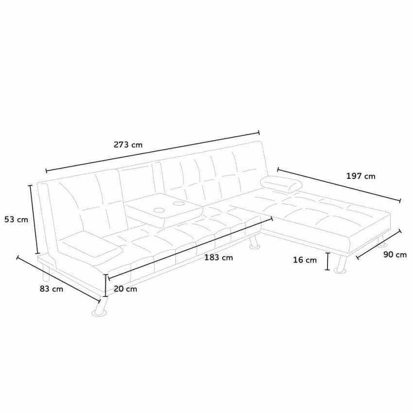 DI1710PU - Divano letto ad angolo con bracciolo e penisola 3 posti COBALTO per salotto e soggiorno pronto letto - colora