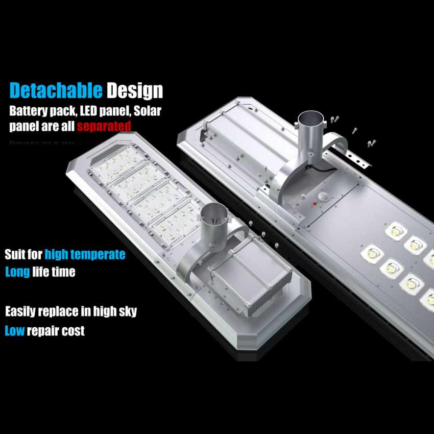 Lampione Solare LED con Pannello Integrato 5000 Lumen per Strade Giardini GOLDRAKE - foto