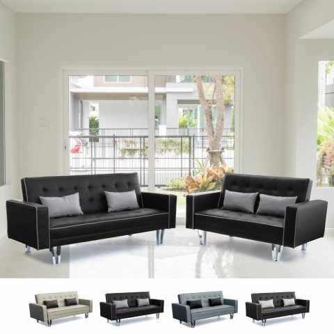 DI1748PUDM - Set 2 divani letto 3+2 posti in similpelle per soggiorno e salotto TANZANITE DUETTO pronto letto - colorato