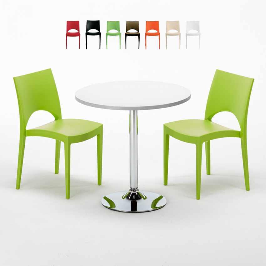 Tavolino Rotondo Bianco 70x70cm Con 2 Sedie Colorate Interno Bar PARIS LONG ISLAND - foto