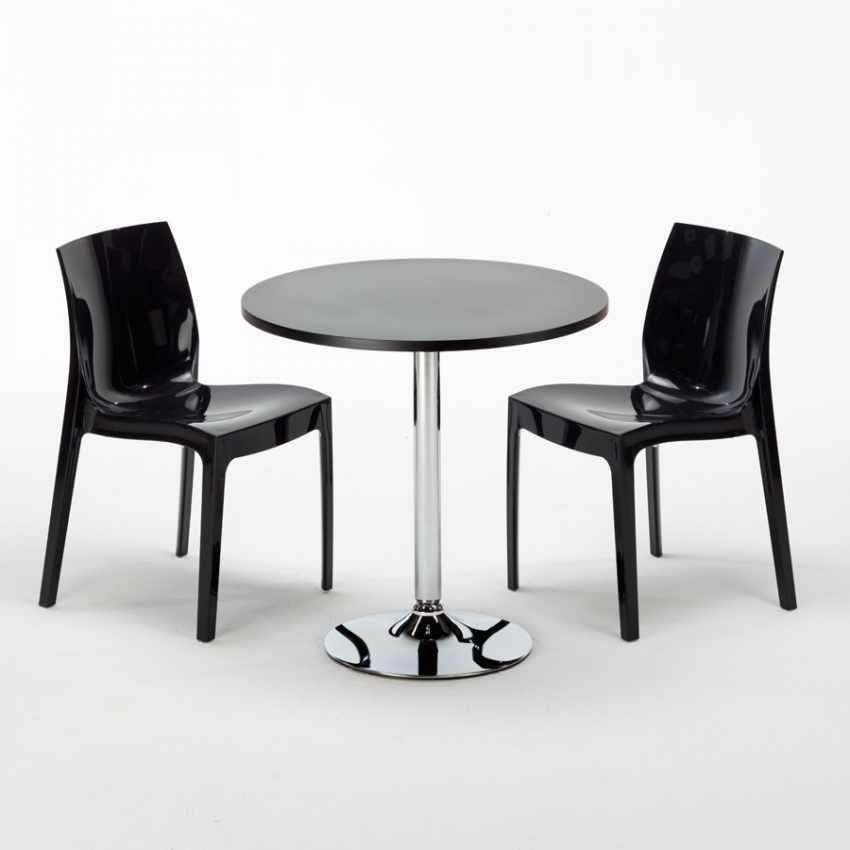 Tavolino Rotondo Nero 70x70cm Con 2 Sedie Colorate Interno Bar ICE COSMOPOLITAN - esterno