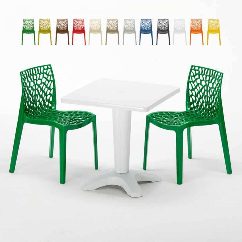 Tavolino Quadrato Bianco 70x70cm Con 2 Sedie Colorate Interno Bar GRUVYER PATIO - dettaglio