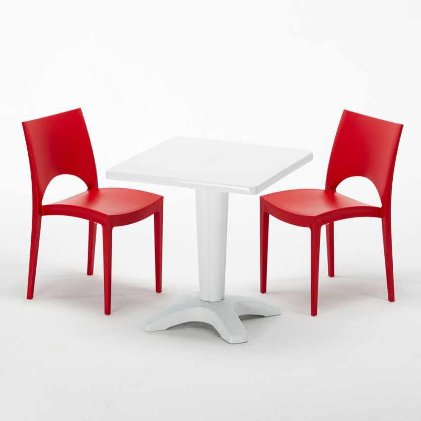 Tavolino Quadrato Bianco 70x70cm Con 2 Sedie Colorate Interno Bar PARIS PATIO - esterno