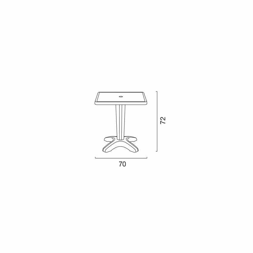 Tavolino Quadrato Bianco 70x70cm Con 2 Sedie Colorate Interno Bar PARIS PATIO - interno