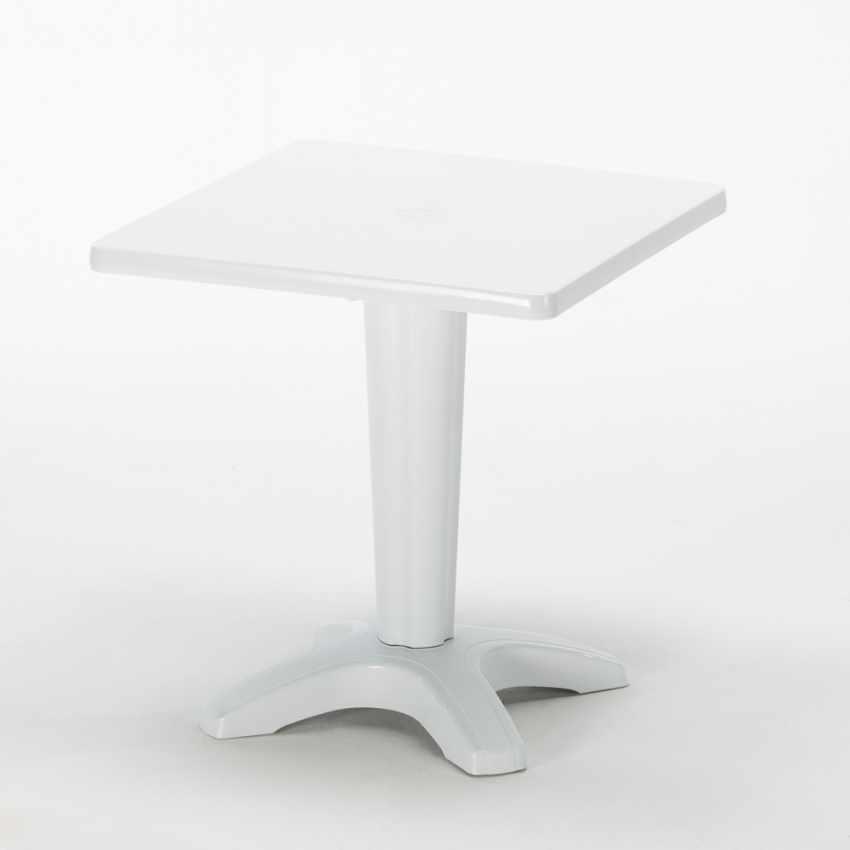 Tavolino Quadrato Bianco 70x70cm Con 2 Sedie Colorate Interno Bar PARIS PATIO - immagine