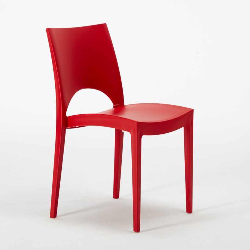 Tavolino Quadrato Bianco 70x70cm Con 2 Sedie Colorate Interno Bar PARIS PATIO - migliore