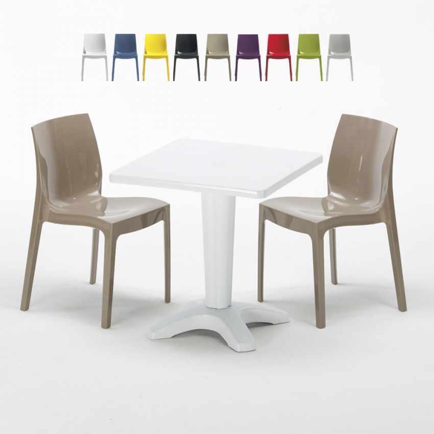 Tavolino Quadrato Bianco 70x70cm Con 2 Sedie Colorate Interno Bar ICE PATIO - arredamento