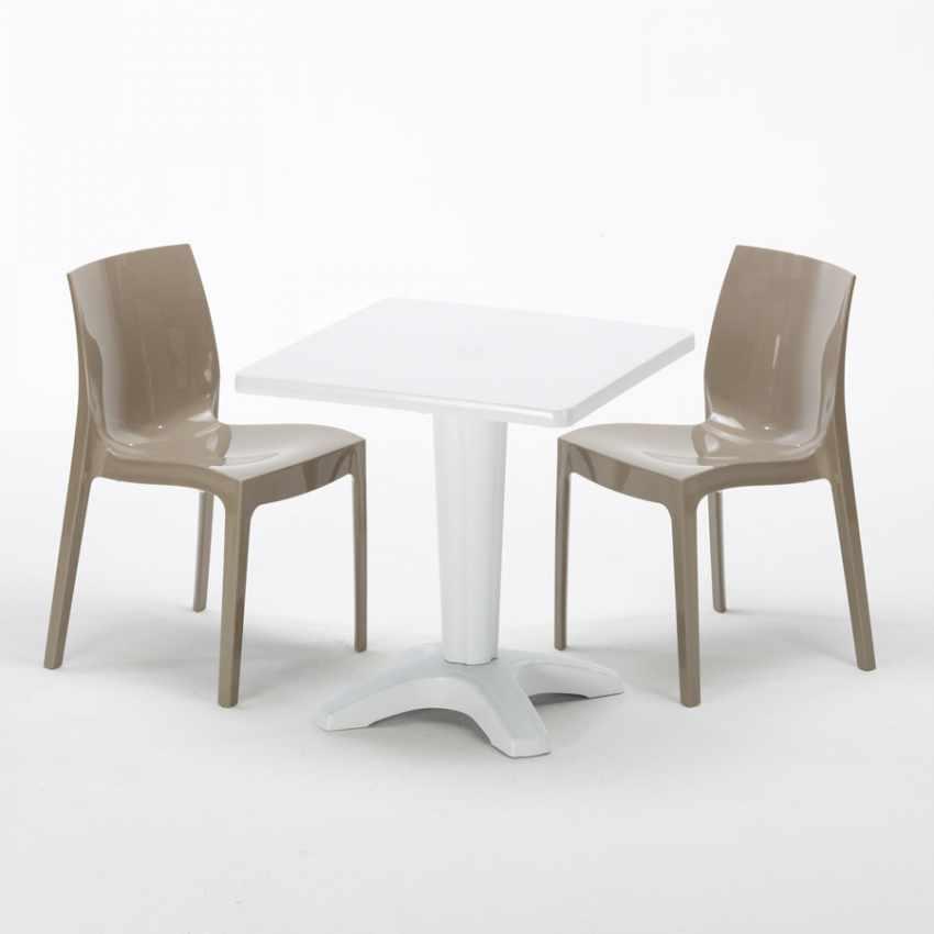 Tavolino Quadrato Bianco 70x70cm Con 2 Sedie Colorate Interno Bar ICE PATIO - foto