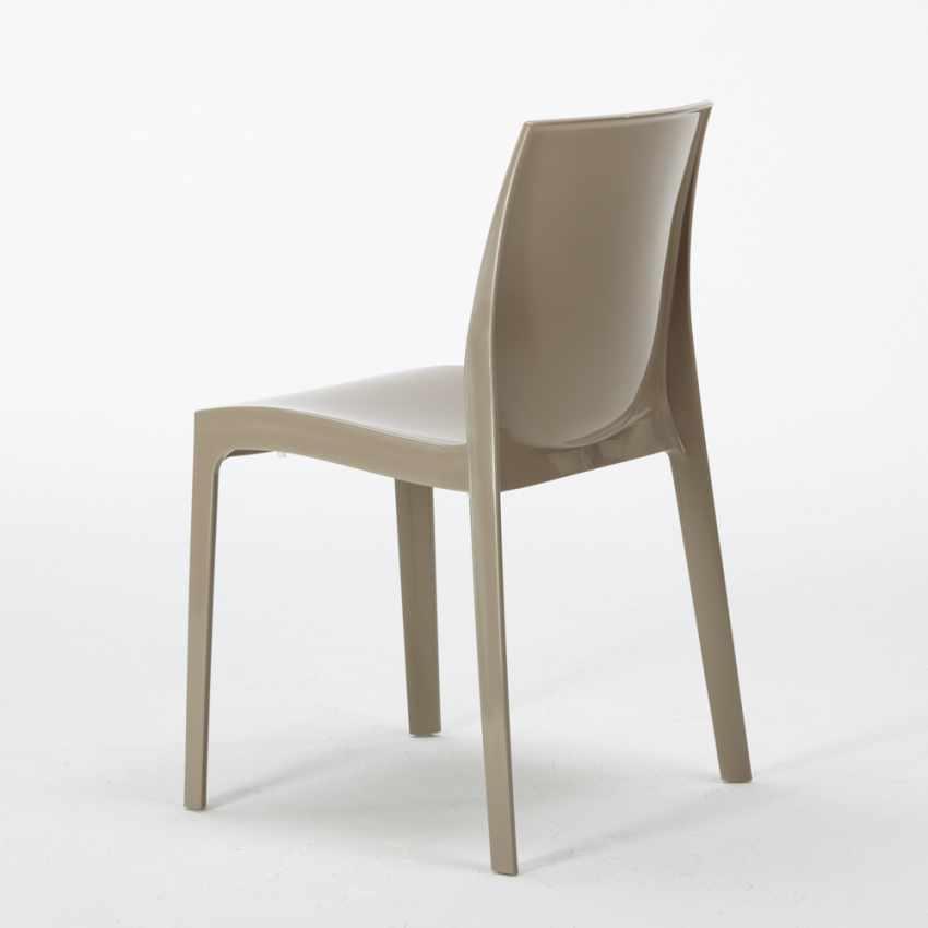 Tavolino Quadrato Bianco 70x70cm Con 2 Sedie Colorate Interno Bar ICE PATIO - nuovo