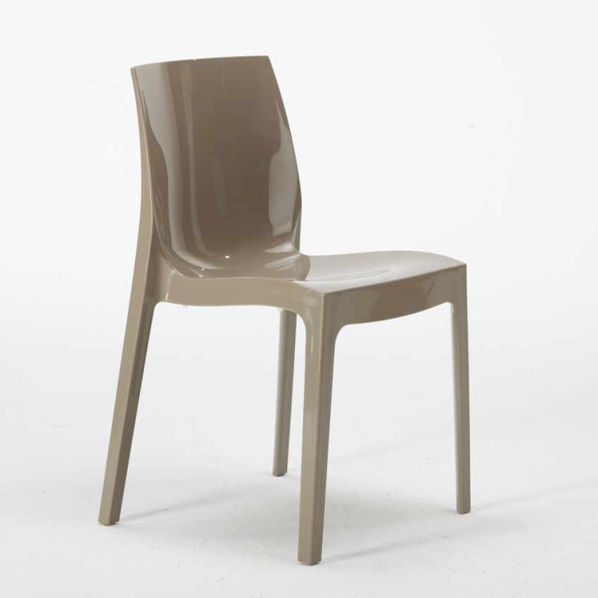 Tavolino Quadrato Bianco 70x70cm Con 2 Sedie Colorate Interno Bar ICE PATIO - promo