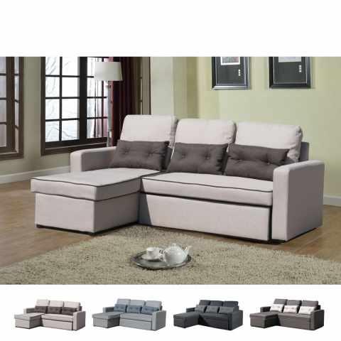 SADIZ712TE - Divano letto con penisola ad angolo modulare 3 posti e cuscini SMERALDO per soggiorni e salotti pronto lett