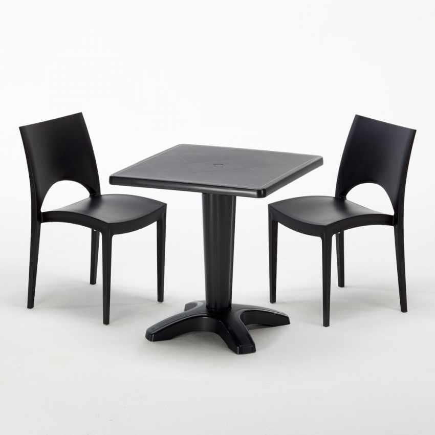 Tavolino Quadrato nero 70x70cm Con 2 Sedie Colorate Interno Bar PARIS AIA - esterno