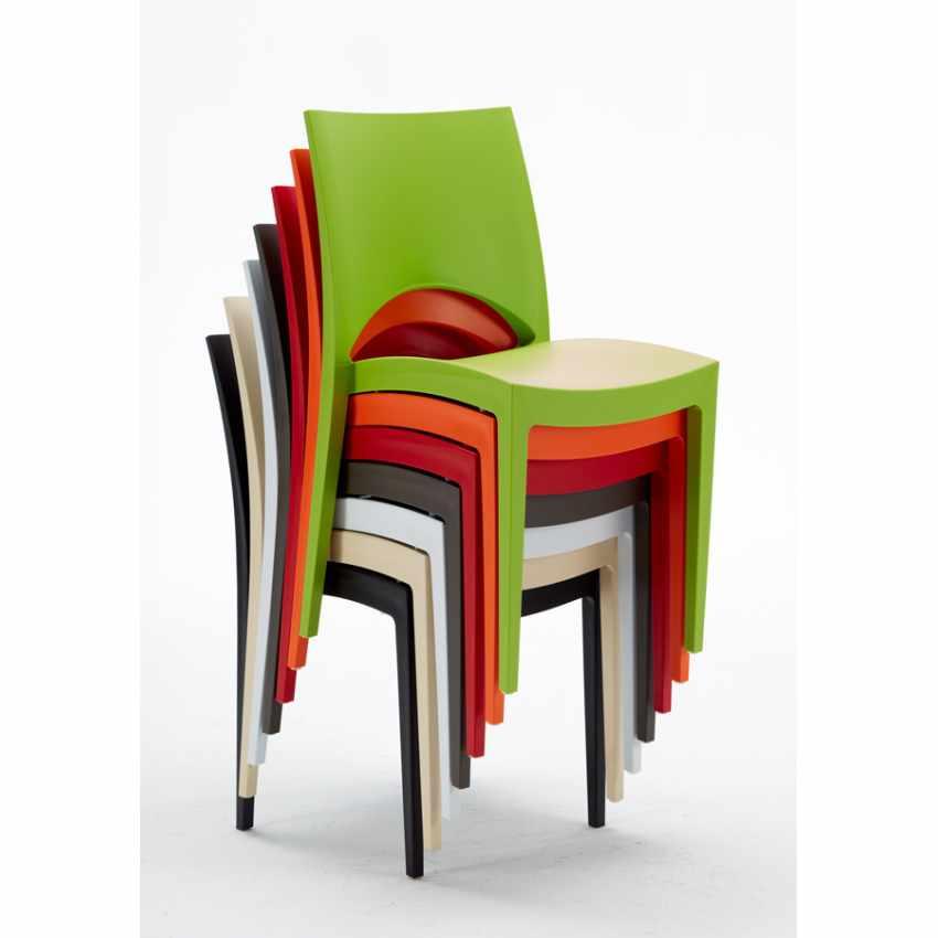 Tavolino Quadrato nero 70x70cm Con 2 Sedie Colorate Interno Bar PARIS AIA - dettaglio