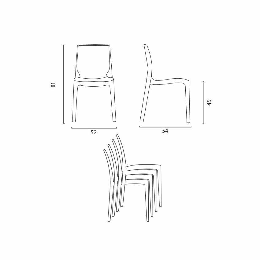Tavolino Quadrato Nero 70x70cm Con 2 Sedie Colorate Interno Bar ICE AIA - promo