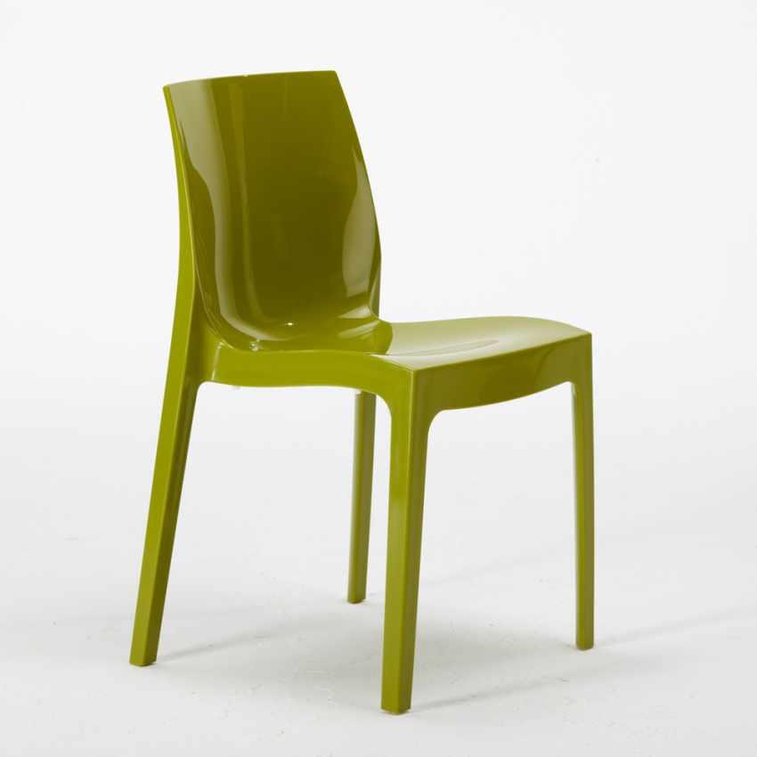 Tavolino Quadrato Nero 70x70cm Con 2 Sedie Colorate Interno Bar ICE AIA - immagine