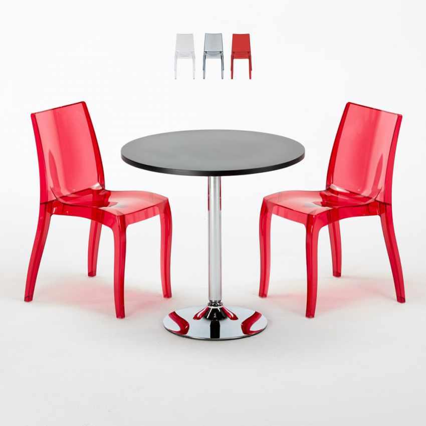Tavolino Rotondo Nero 70x70cm Con 2 Sedie Colorate Interno Bar CRISTAL LIGHT GOLD - esterno