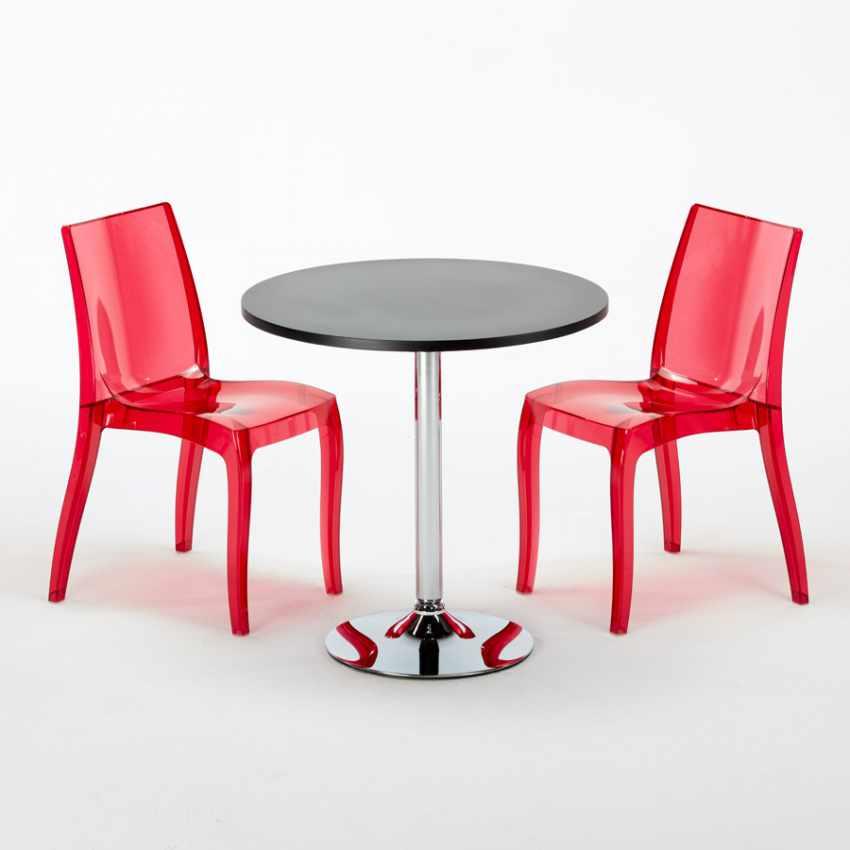 Tavolino Rotondo Nero 70x70cm Con 2 Sedie Colorate Interno Bar CRISTAL LIGHT GOLD - foto
