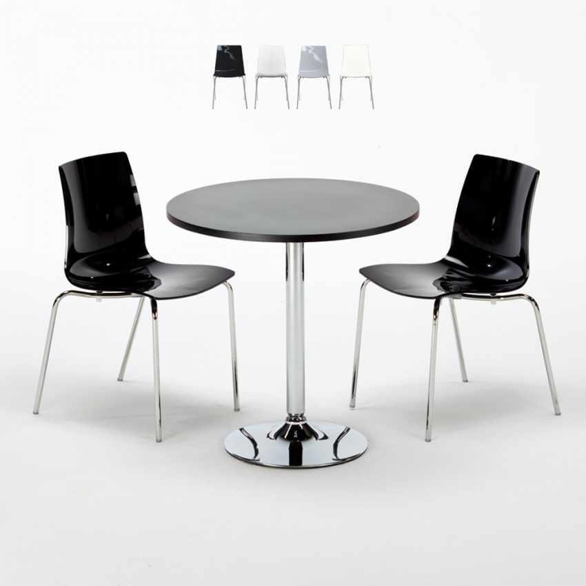 Tavolino Rotondo Nero 70x70cm Con 2 Sedie Colorate Interno Bar LOLLIPOP GOLD - dettaglio