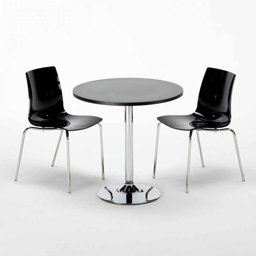 Tavolino Rotondo Nero 70x70cm Con 2 Sedie Colorate Interno Bar LOLLIPOP GOLD - prezzo