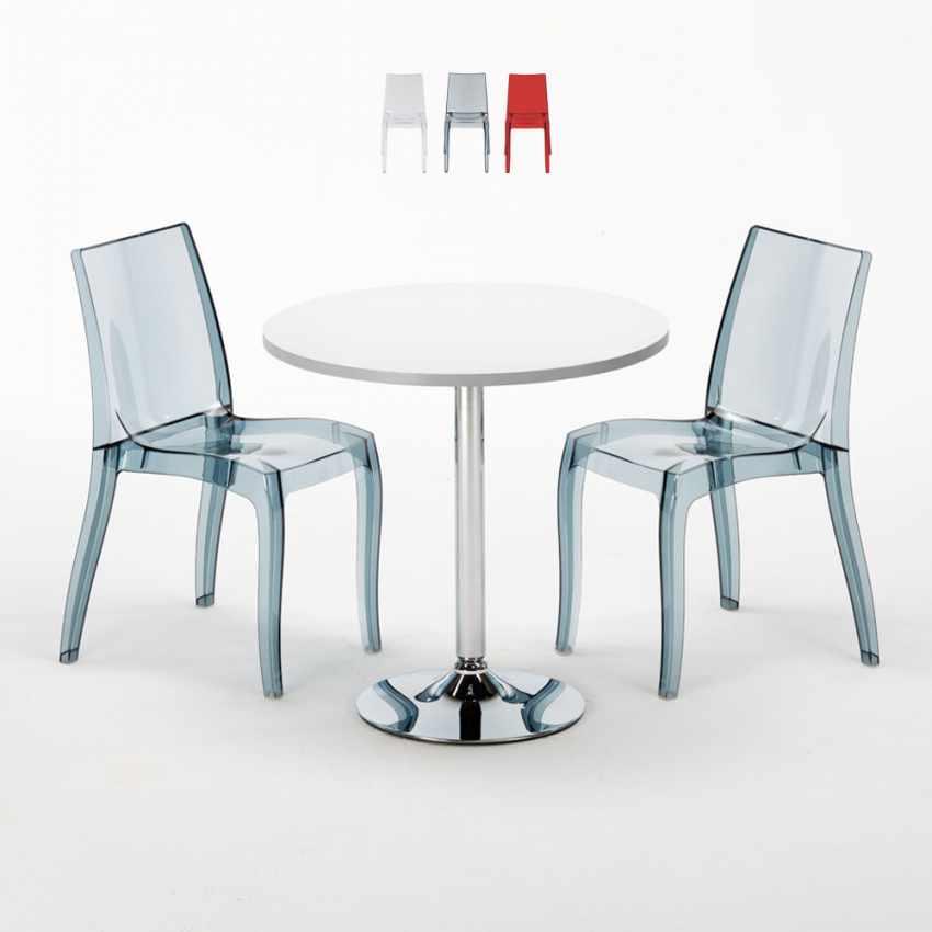 Tavolino Rotondo Bianco 70x70cm Con 2 Sedie Colorate Interno Bar CRISTAL LIGHT SILVER - arredamento