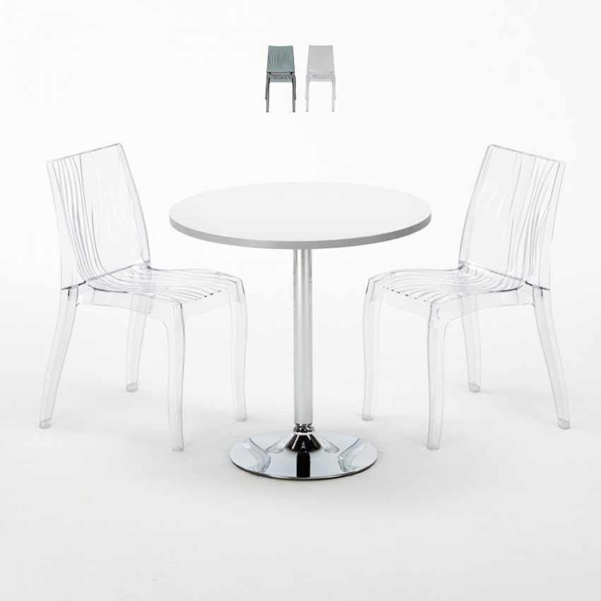 Tavolino Rotondo Bianco 70x70cm Con 2 Sedie Colorate Interno Bar DUNE SILVER - migliore