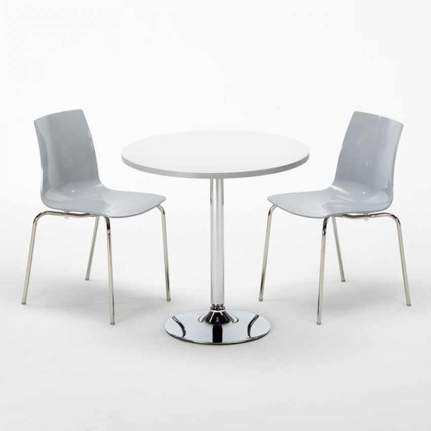 Tavolino Rotondo Bianco 70x70cm Con 2 Sedie Colorate Interno Bar LOLLIPOP SILVER - immagine