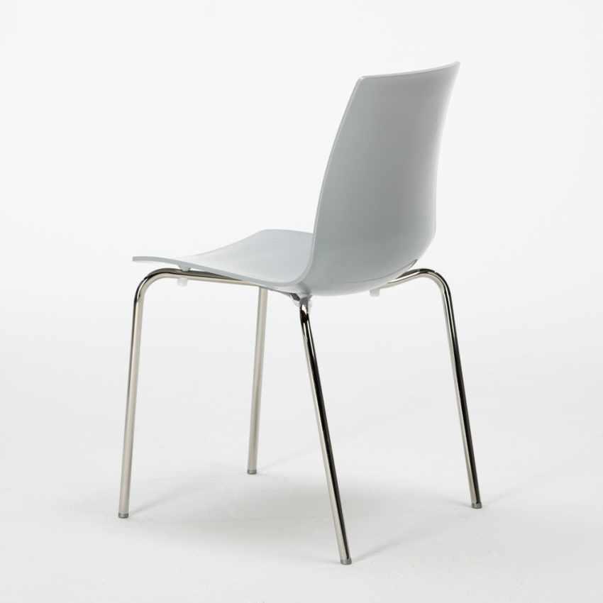 Tavolino Rotondo Bianco 70x70cm Con 2 Sedie Colorate Interno Bar LOLLIPOP SILVER - esterno
