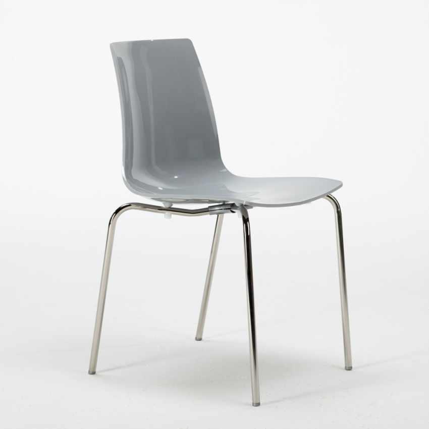 Tavolino Rotondo Bianco 70x70cm Con 2 Sedie Colorate Interno Bar LOLLIPOP SILVER - scontato