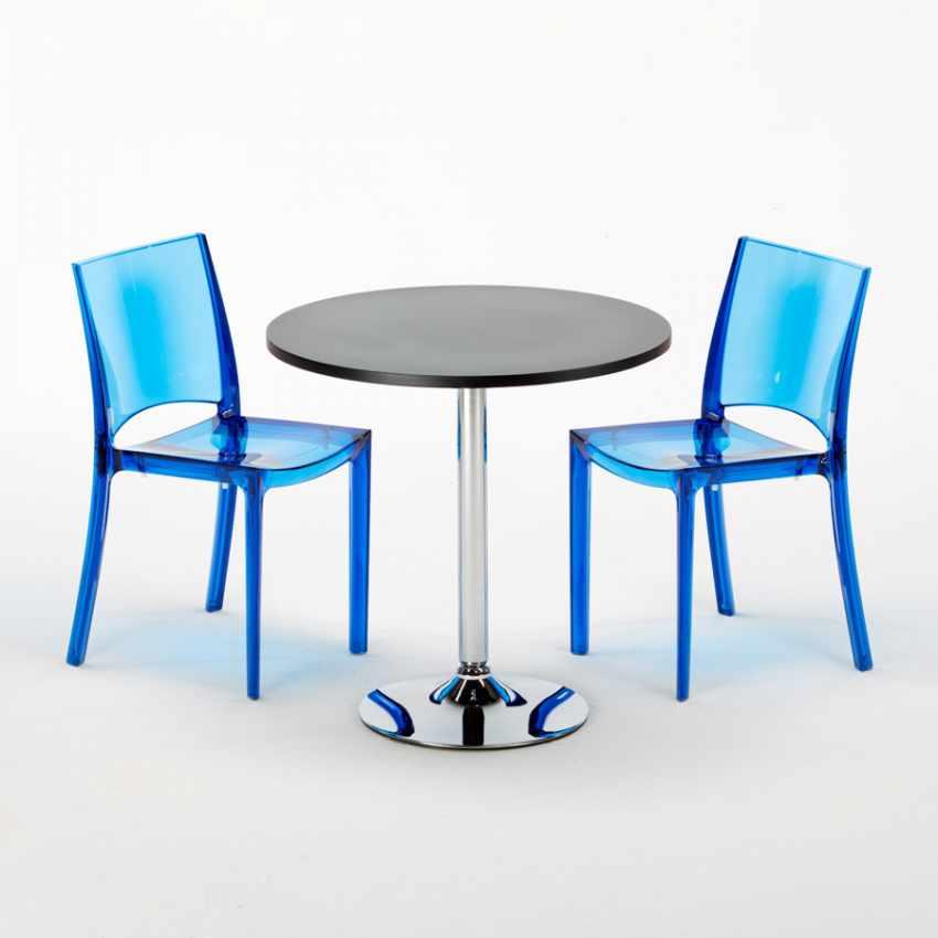 Tavolino Rotondo Nero 70x70cm Con 2 Sedie Colorate Interno Bar B-SIDE GHOST - scontato