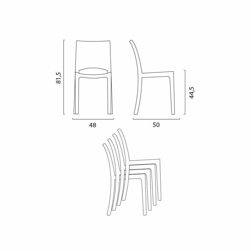 Tavolino Rotondo Nero 70x70cm Con 2 Sedie Colorate Interno Bar B-SIDE GHOST - promo
