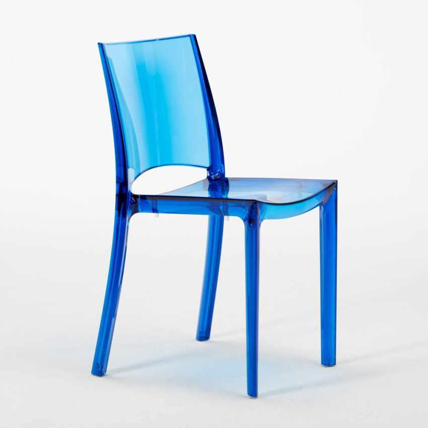 Tavolino Rotondo Nero 70x70cm Con 2 Sedie Colorate Interno Bar B-SIDE GHOST - immagine